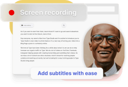 A mockup showing a screen recording with added subtitles.