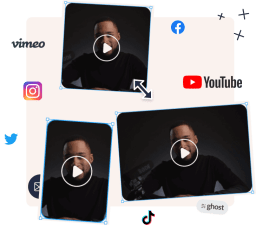 An graphic showing one videos in three differrent formats to show the possibility of changing the aspect ratio in Type Studio.