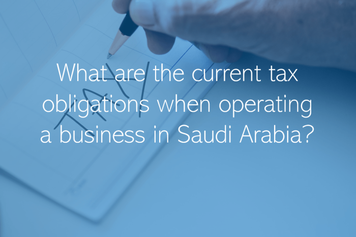 What are the current tax obligations when operating a business in Saudi Arabia