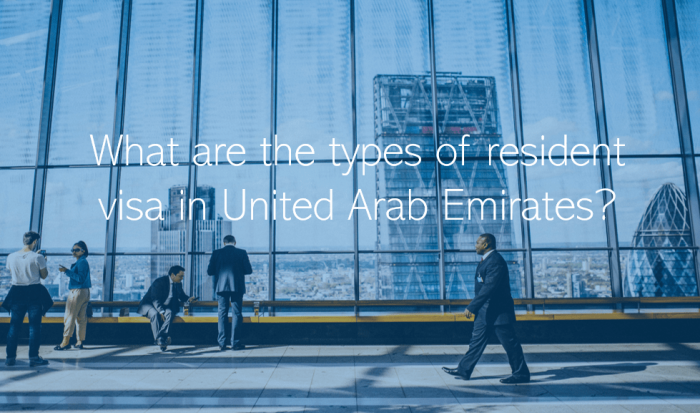 What are the types of resident visa in United Arab Emirates UAE Dubai Abu Dhabi