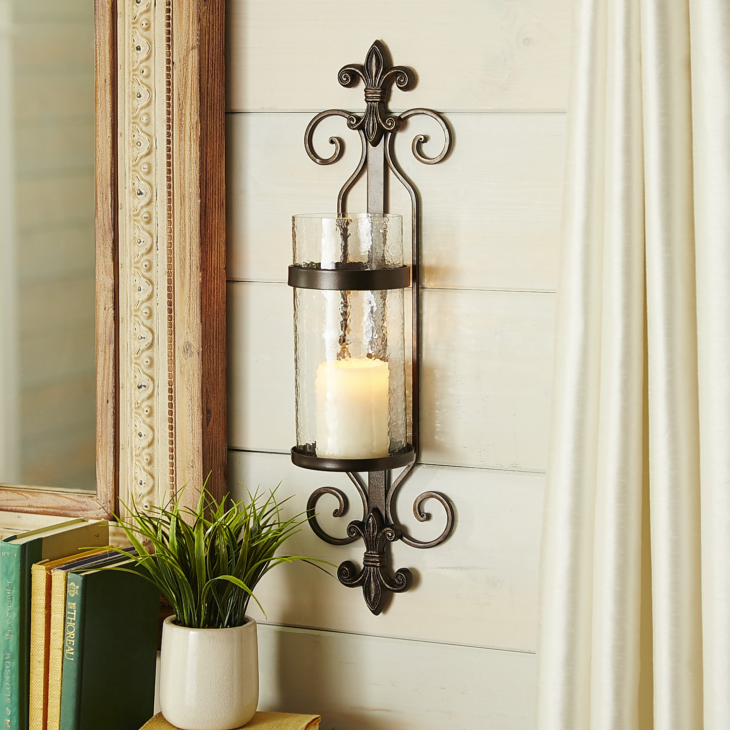 Iron Fleur-De-Lis Pillar Candle Wall Sconce — Pier 1 on Iron Wall Sconces For Candles id=95551