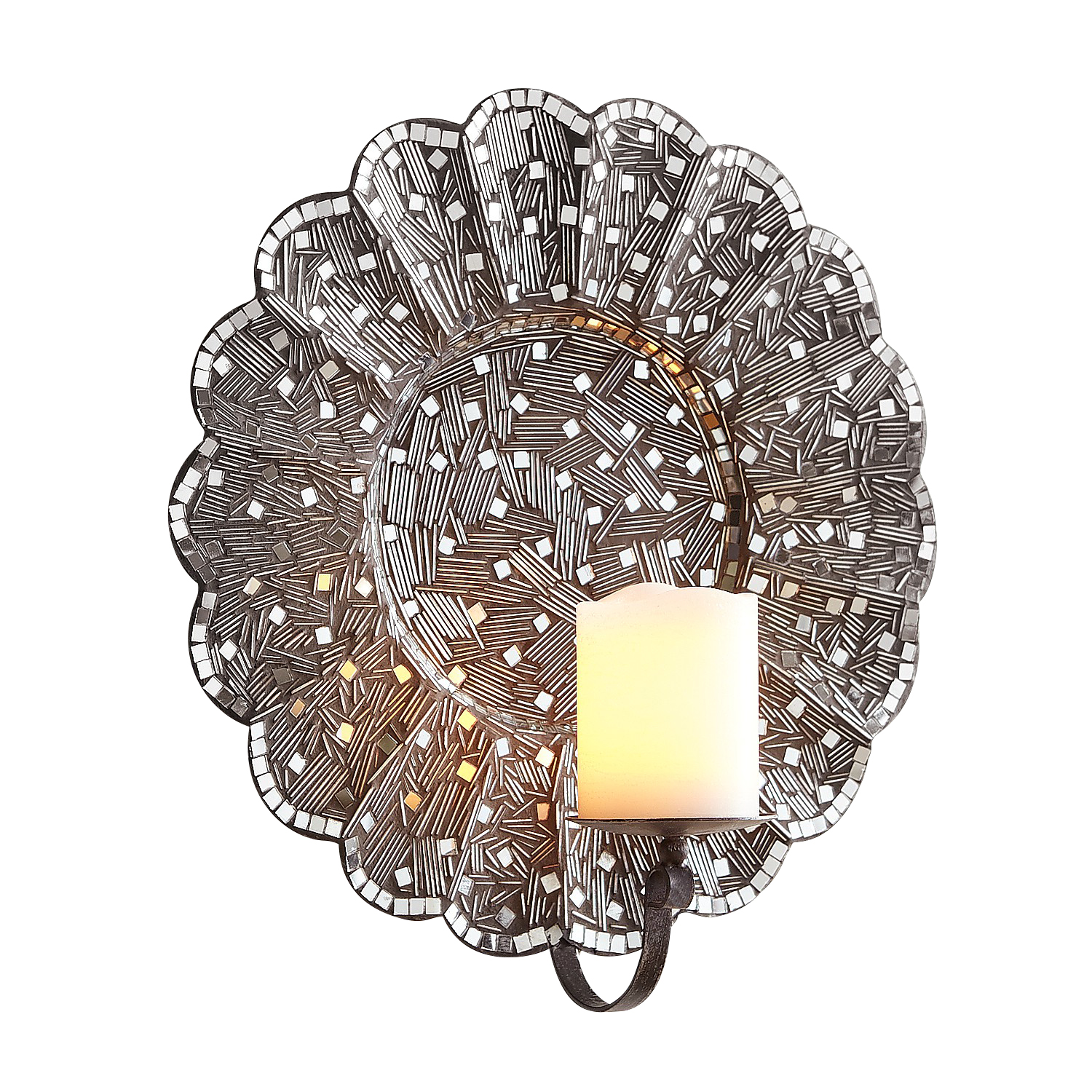 Silver Mosaic Flower Candle Wall Sconce - Pier1
