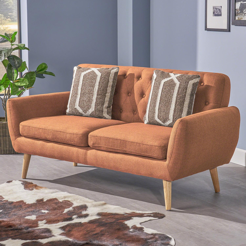 Mid Century Modern Tufted Burnt Orange Fabric Sofa - Pier1 ...