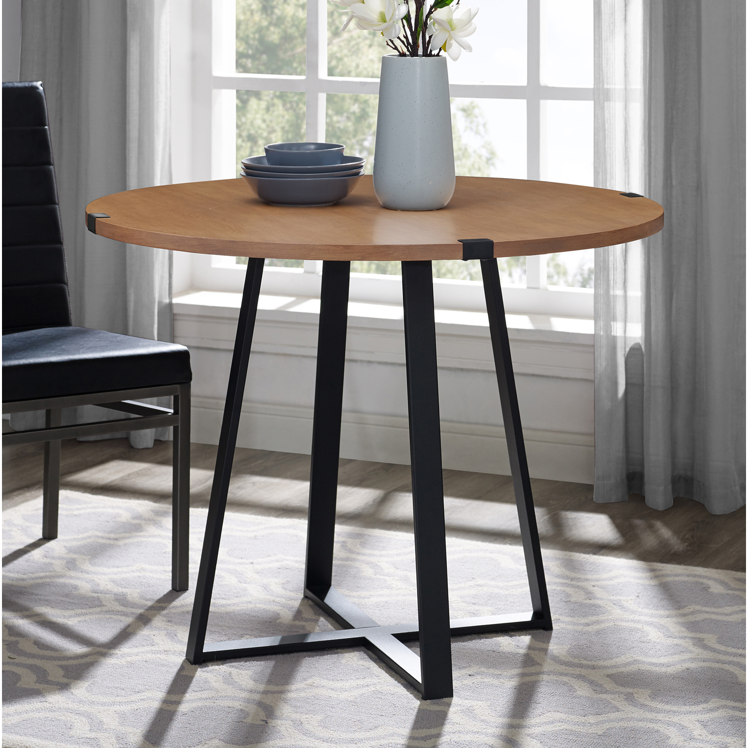 rustic metal wrap round dining table  pier1 imports