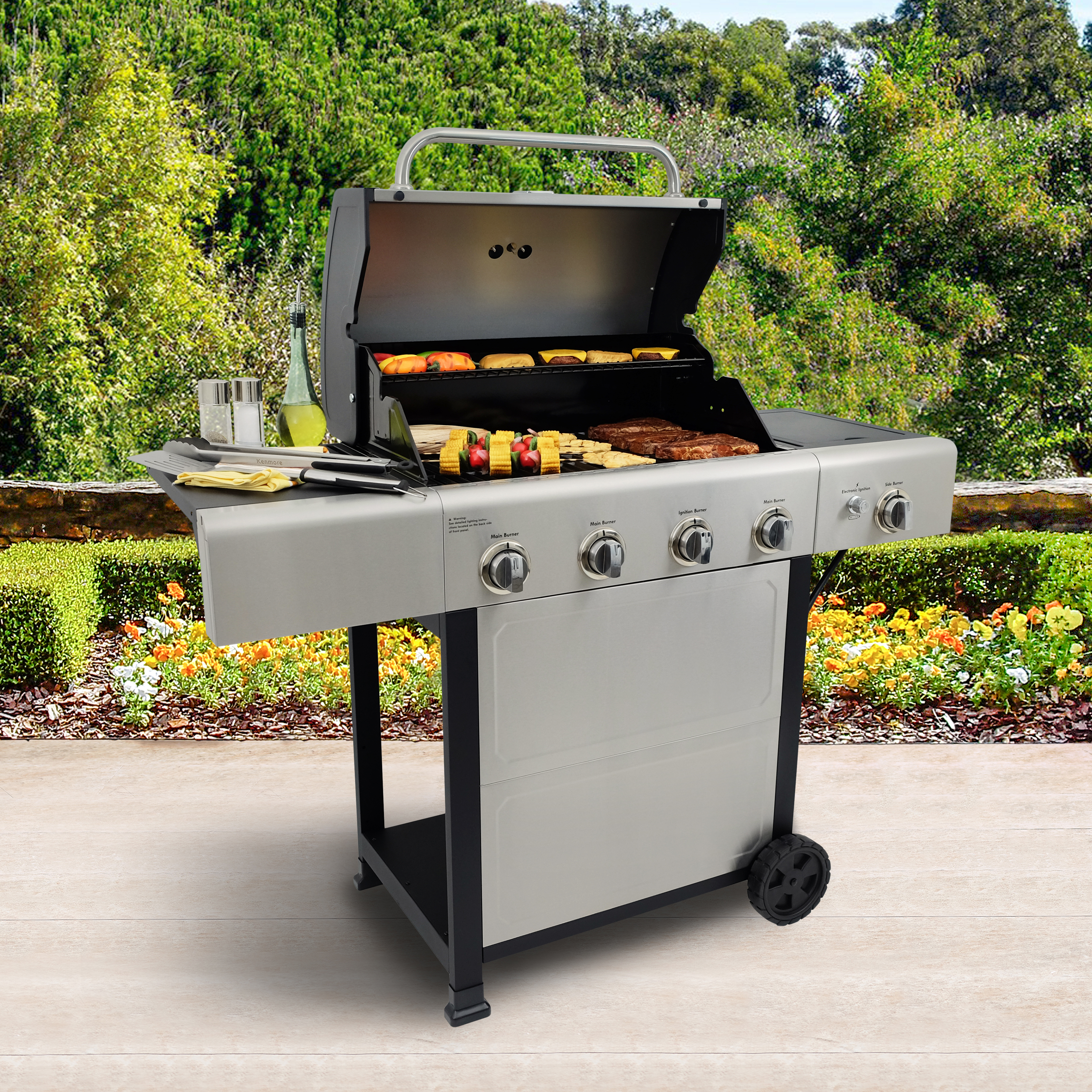 Kenmore 4 Burner Open Cart Grill with side Burner and Stainless Steel Lid and Front Panel