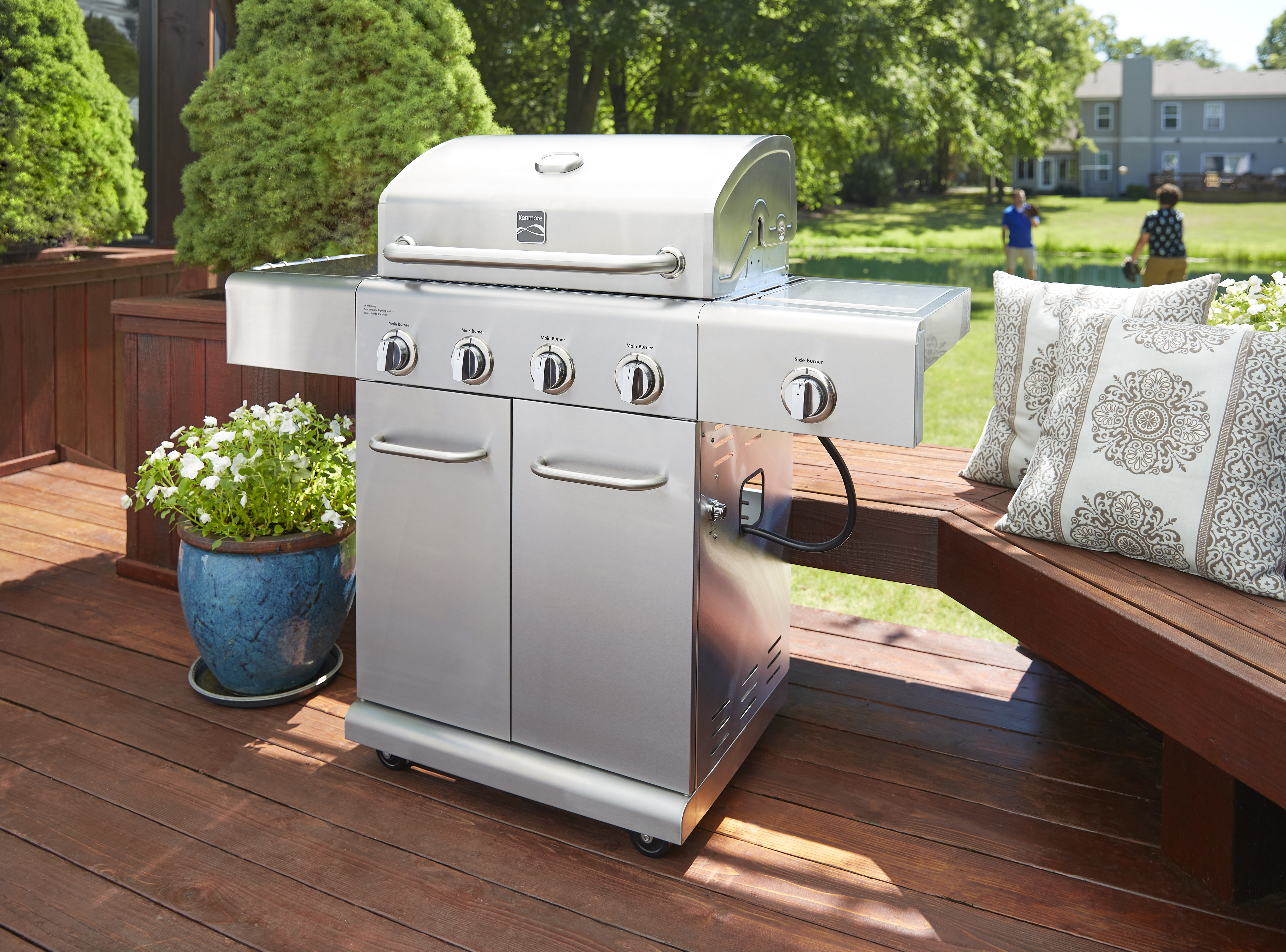 Kenmore 4 Burner Stainless Steel Grill with Side Burner with 2 Push Bars and Accessry Hooks
