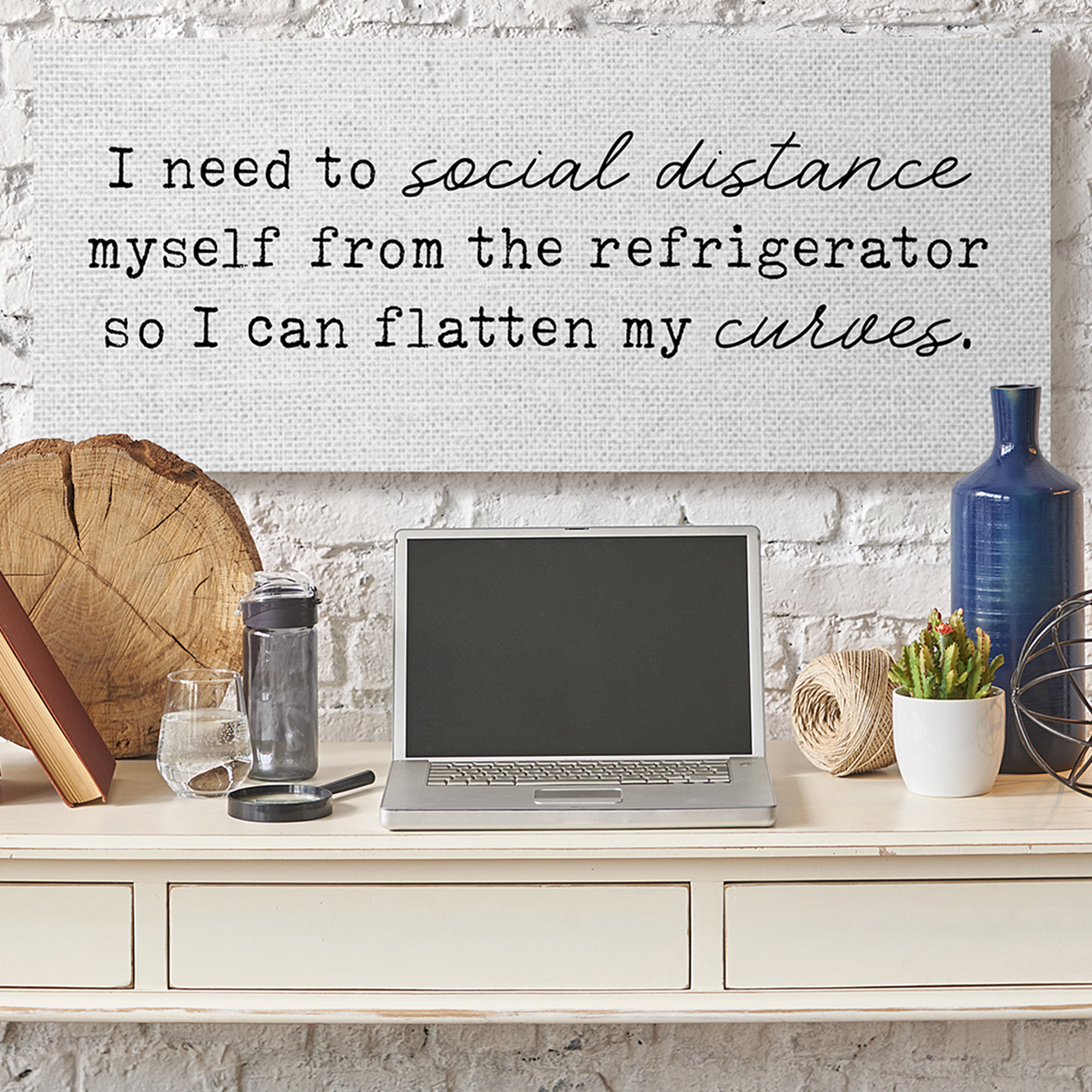 Social Distance from Refrigerator Funny Kitchen Humor Wall Plaque Art by LUX + Me Design