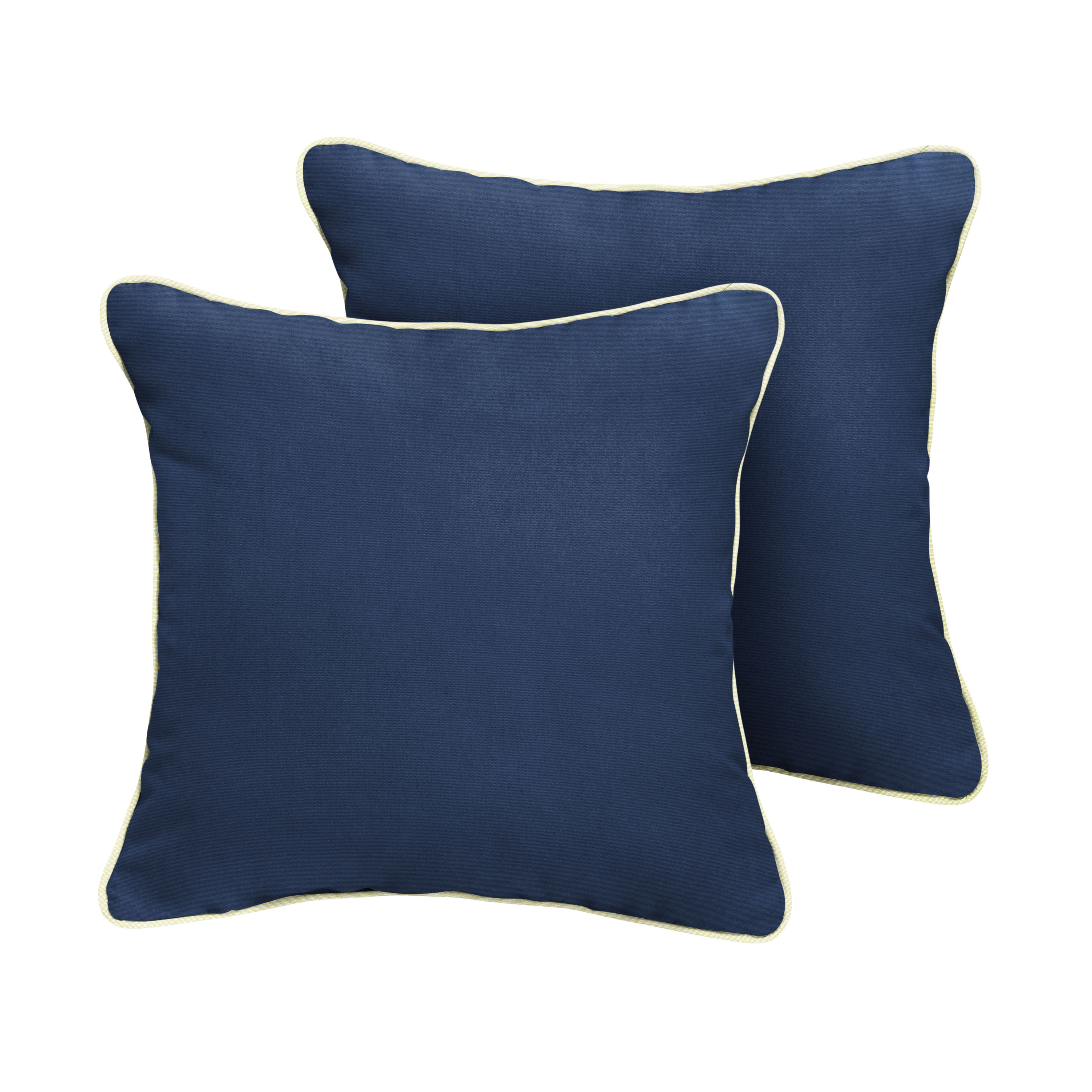Sunbrella Pillows 18  x 18  Set of 2 in Canvas Navy with Canvas Natural Cording