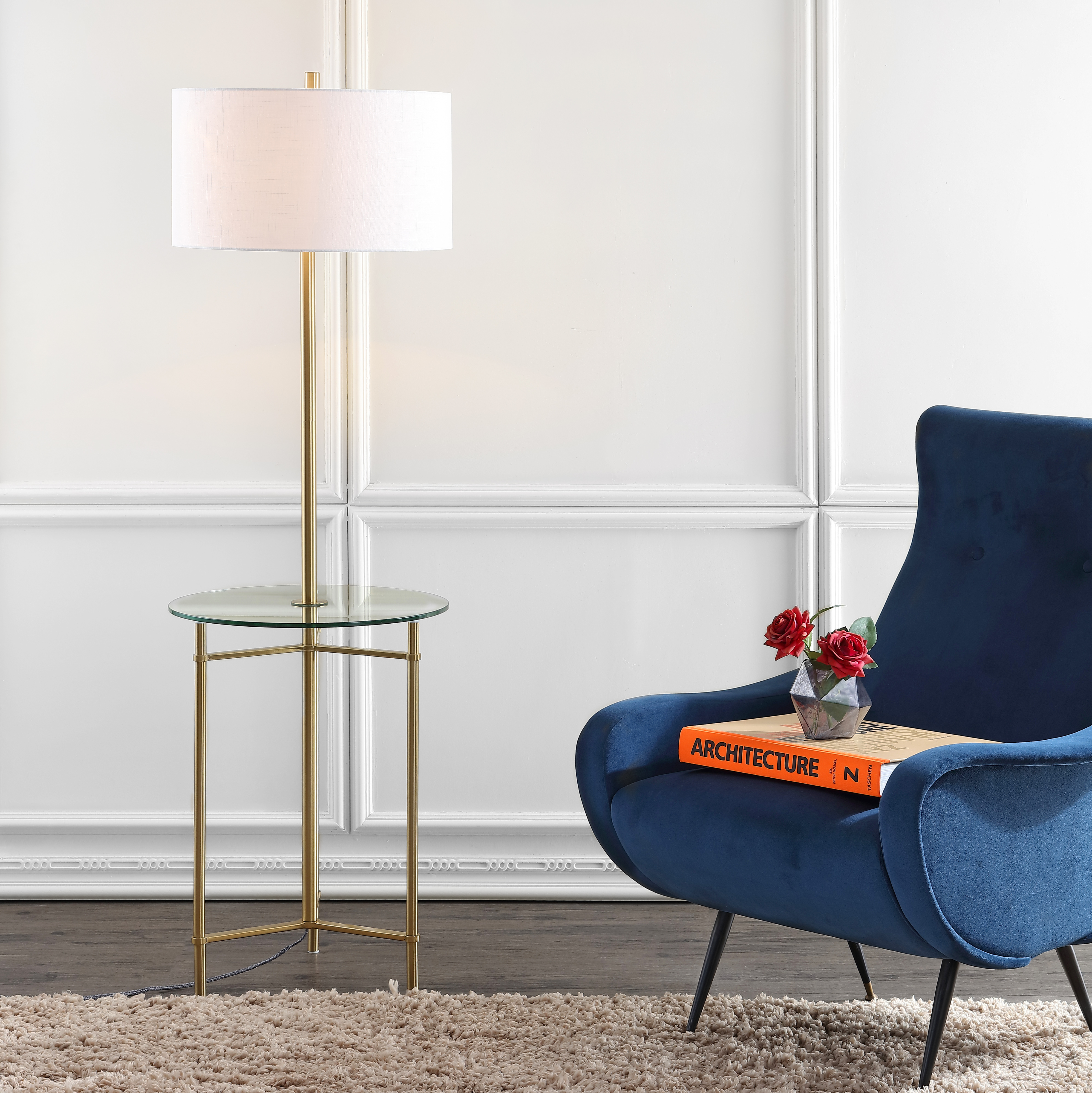 Metal/Glass Side Table and Floor Lamp, Brass