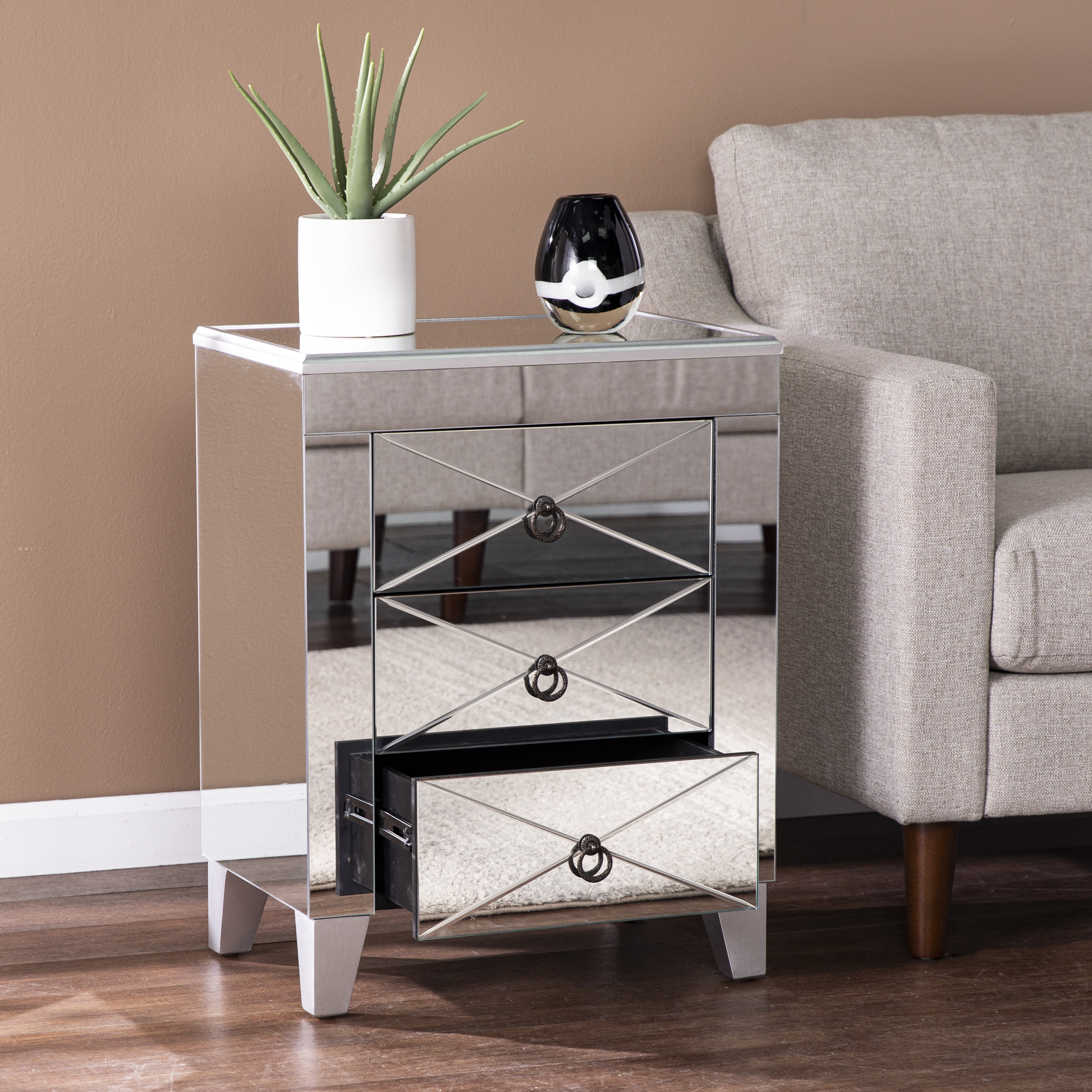 Derring Mirrored End Table