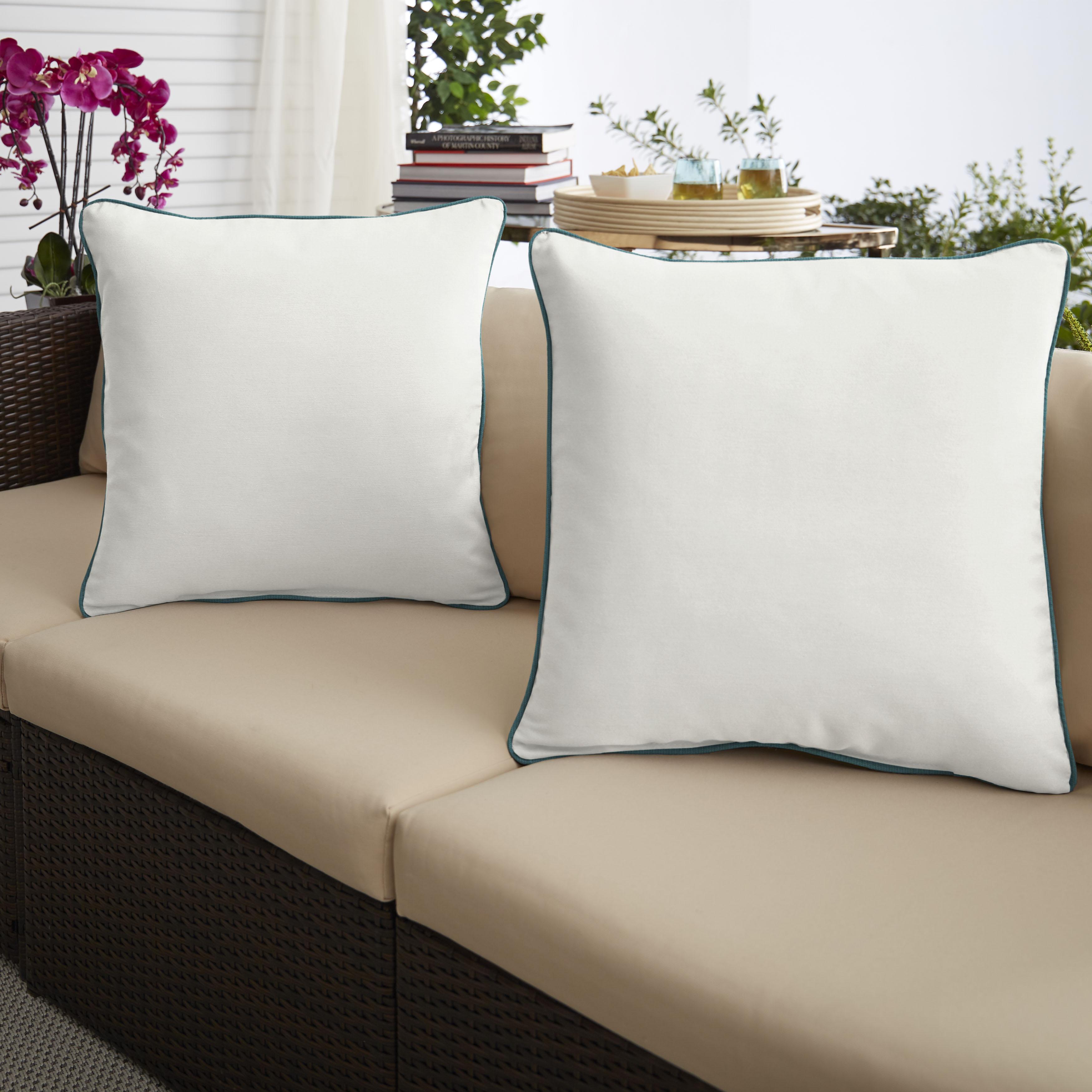 Sunbrella Canvas Natural/Spectrum Peacock  Set of 2 Outdoor Pillows