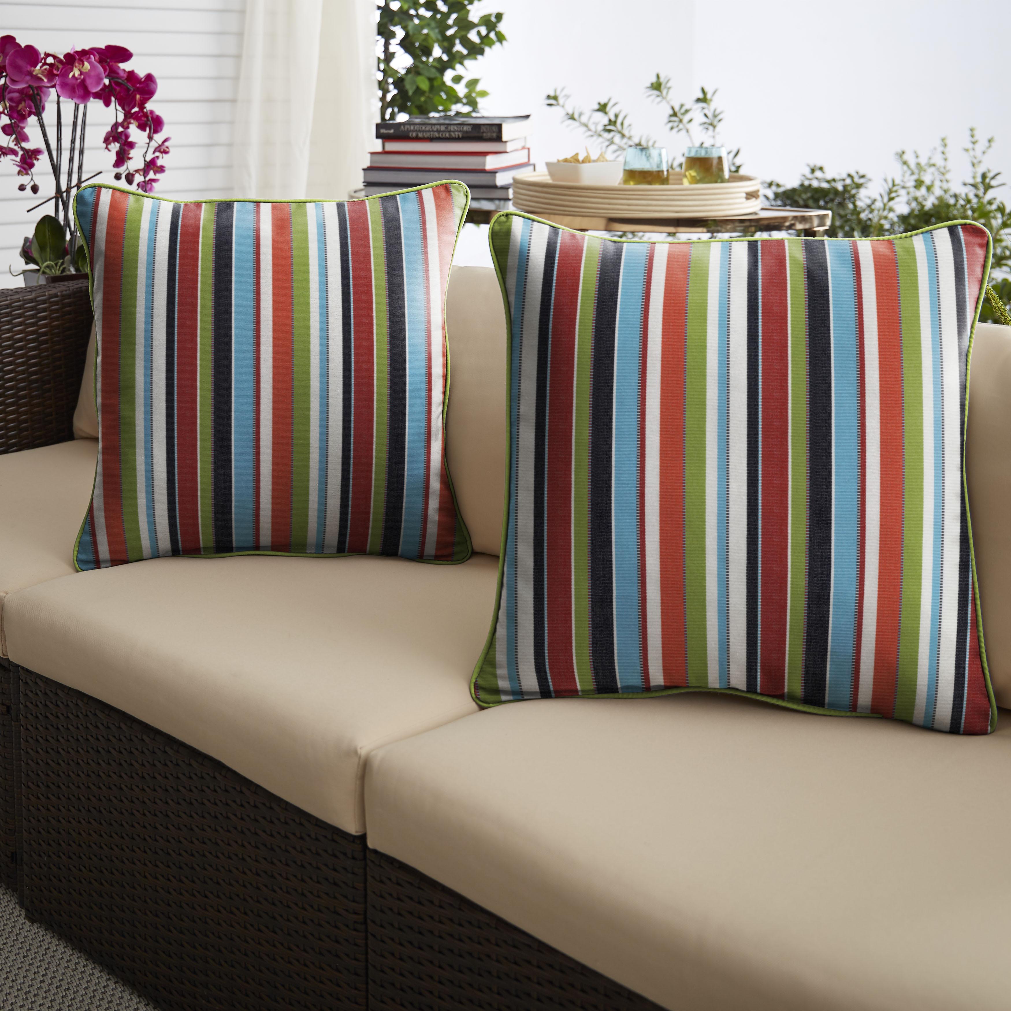 Sunbrella Carousel Confetti/Canvas Macaw Set of 2 Outdoor Pillows
