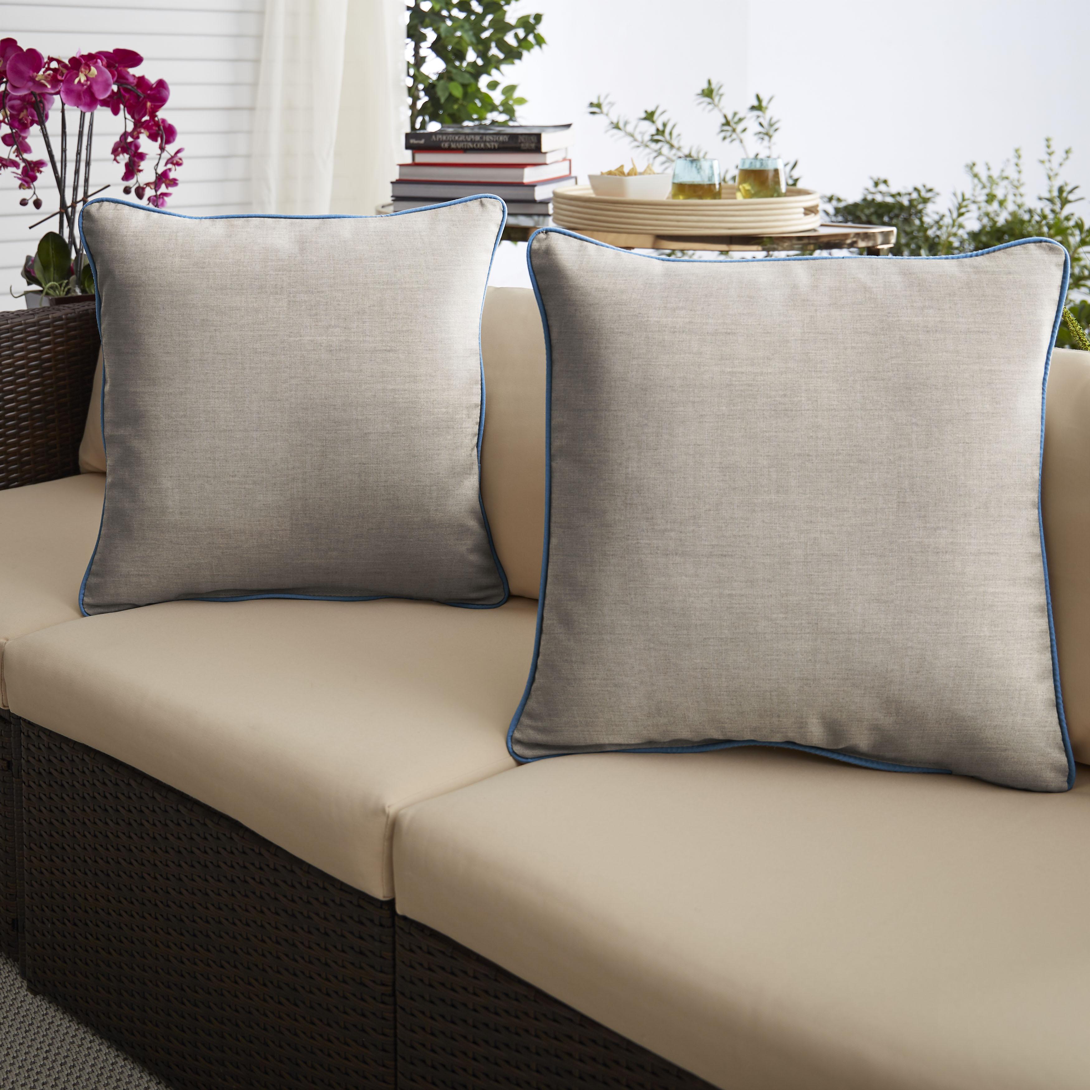 Sunbrella Cast Silver/Canvas Capri  Set of 2 Outdoor Pillows
