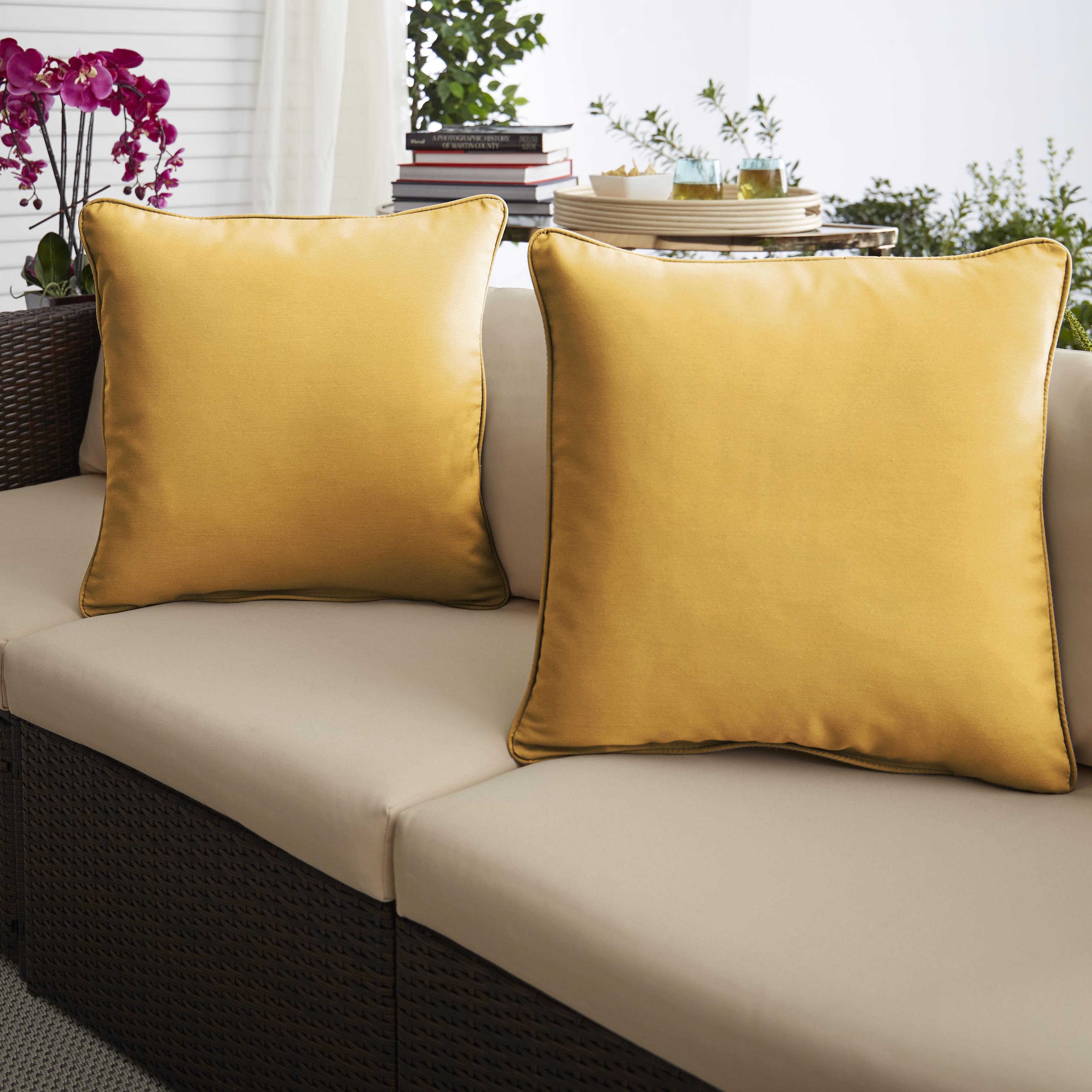 Sunbrella Sunflower Yellow Set of 2 Outdoor Pillows