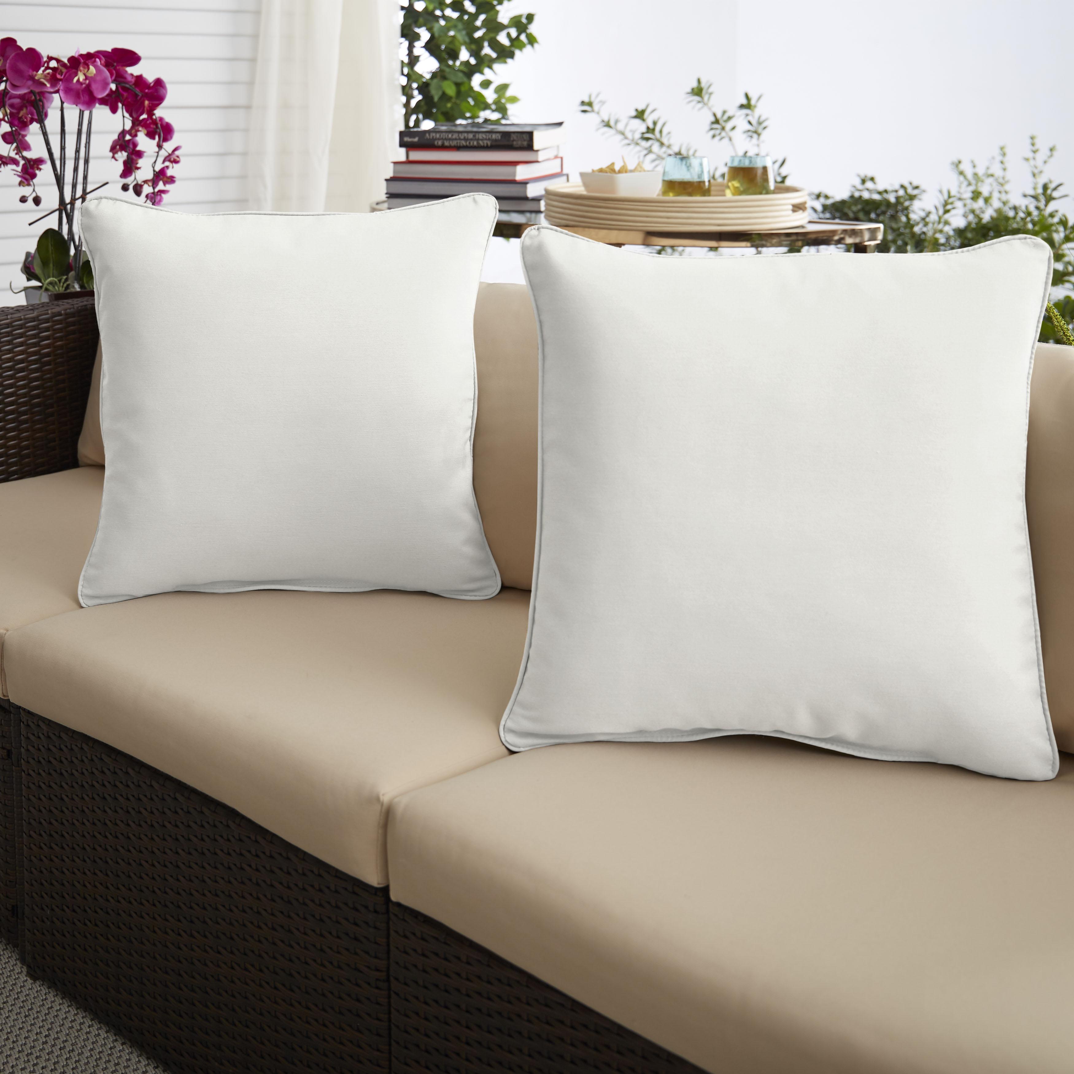 Sunbrella Canvas Natural Set of 2 Outdoor Pillows