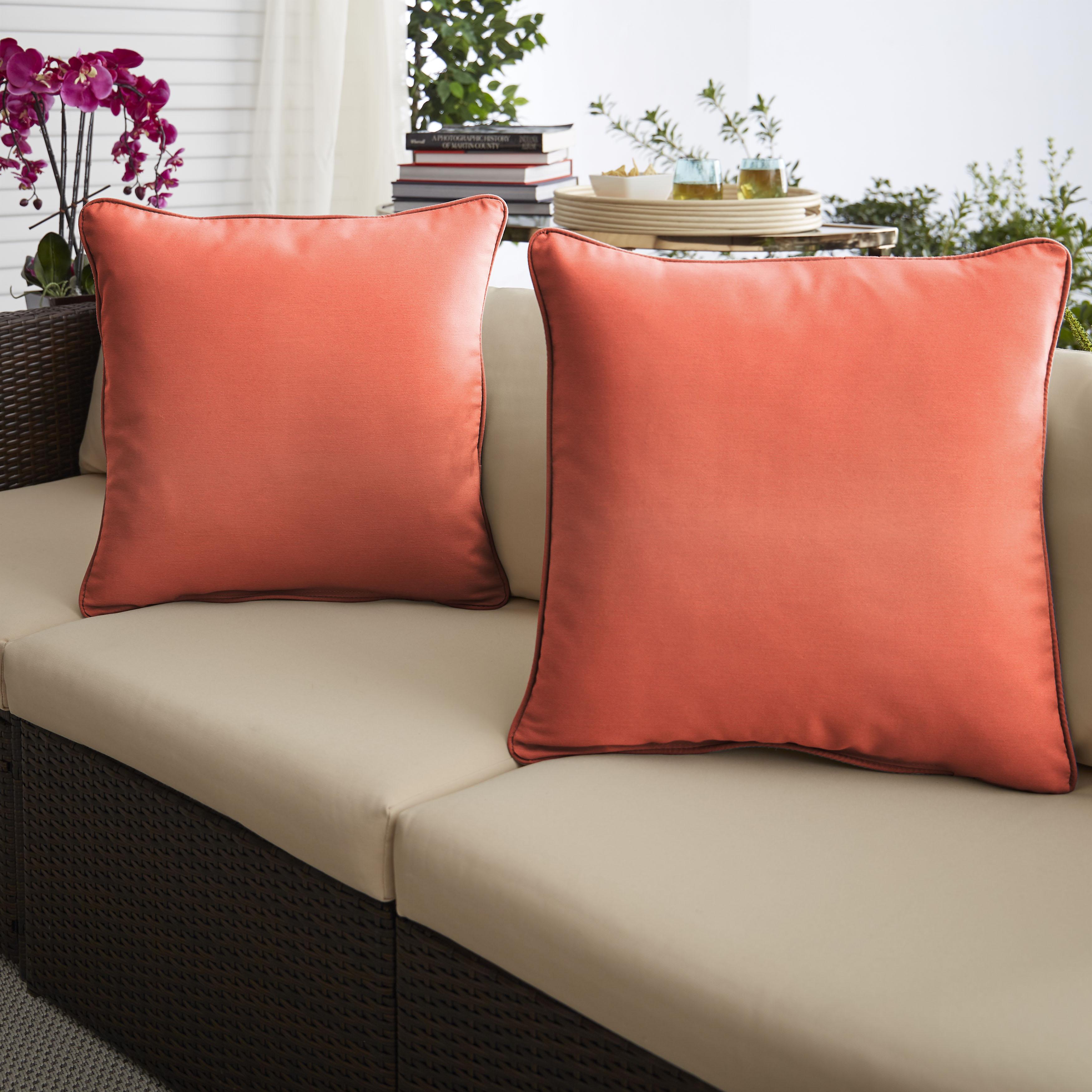 Sunbrella Canvas Melon Set of 2 Outdoor Pillows