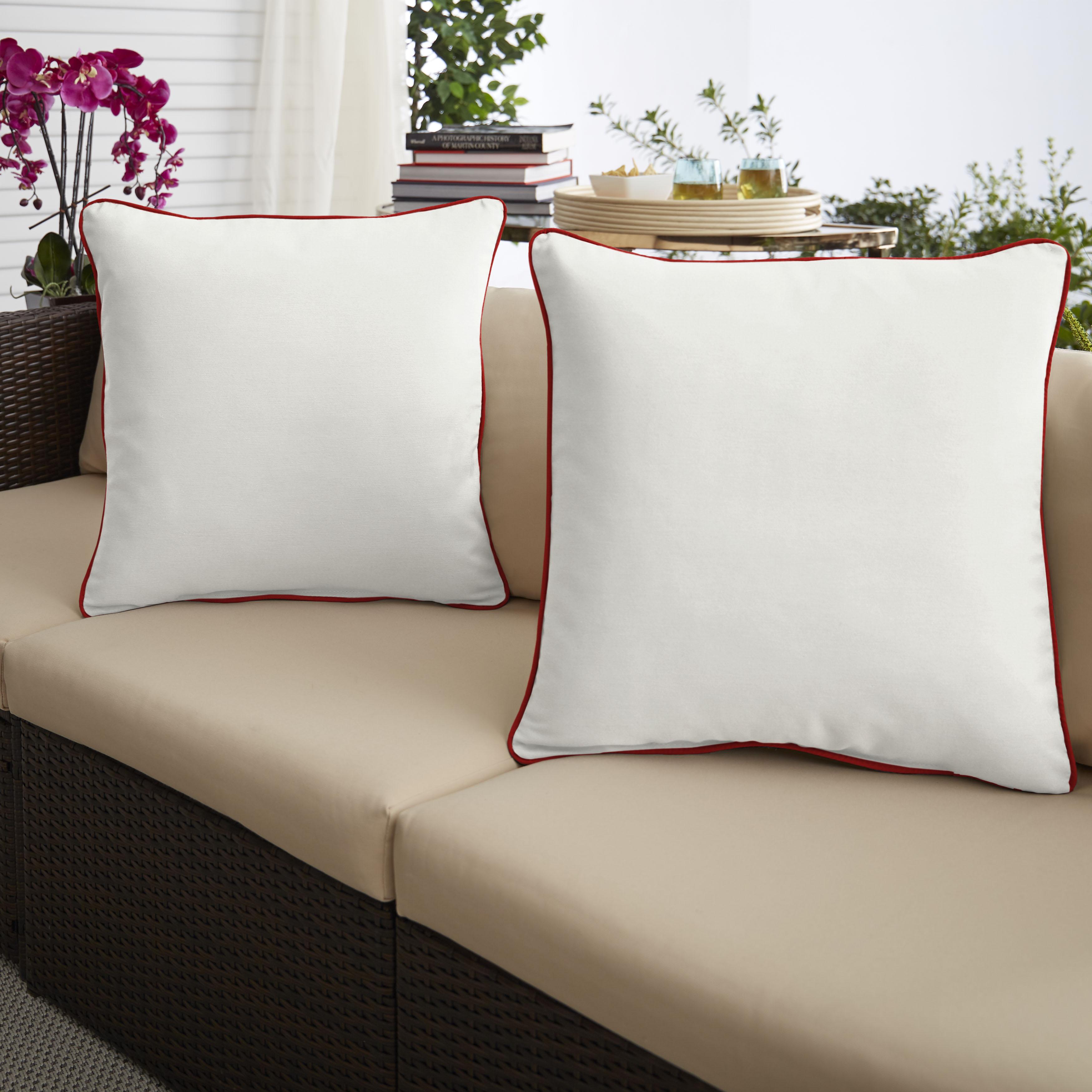 Sunbrella Canvas Natural/Canvas Jockey Red Set of 2 Outdoor Pillows