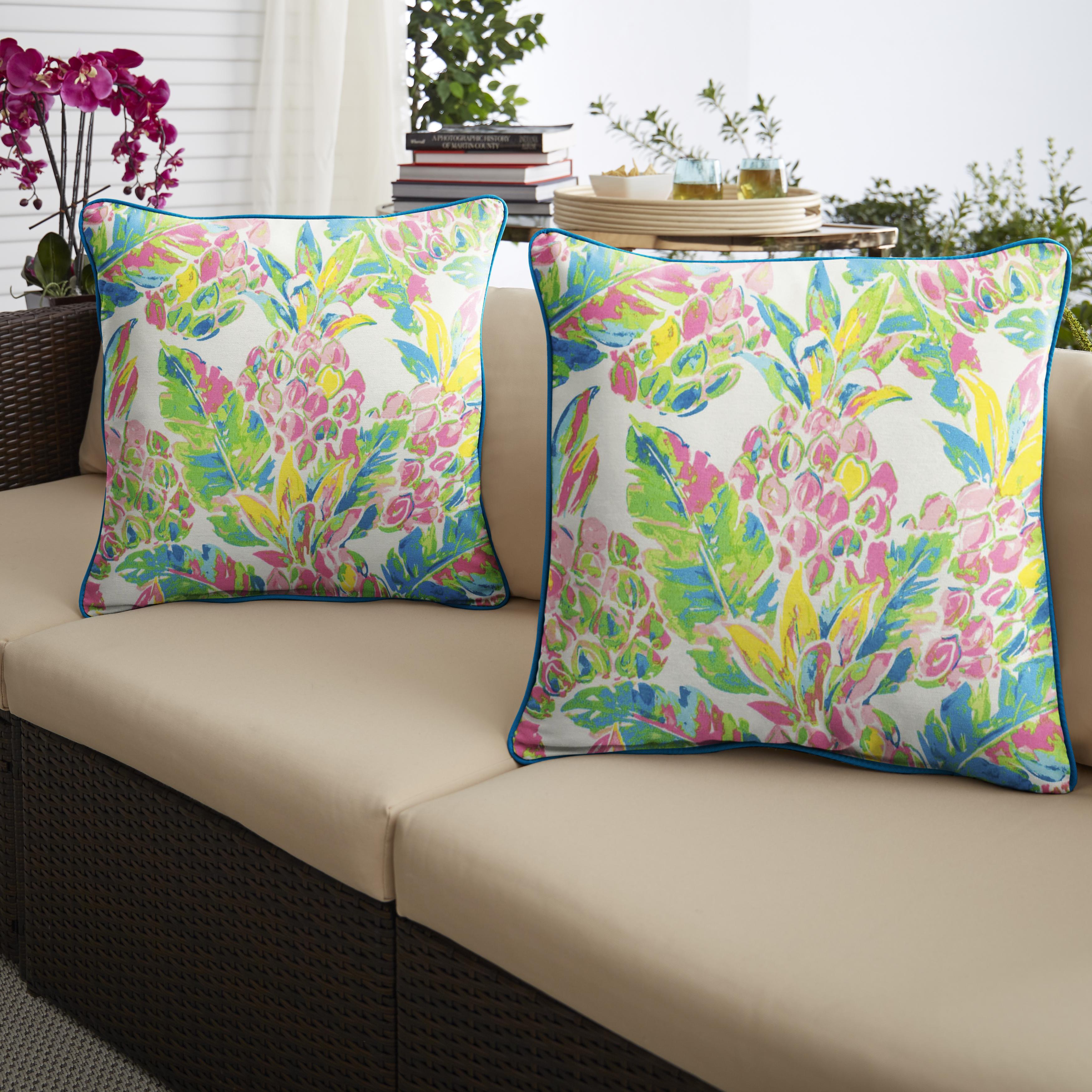 Pink/Blue Set of 2 Outdoor Pillows
