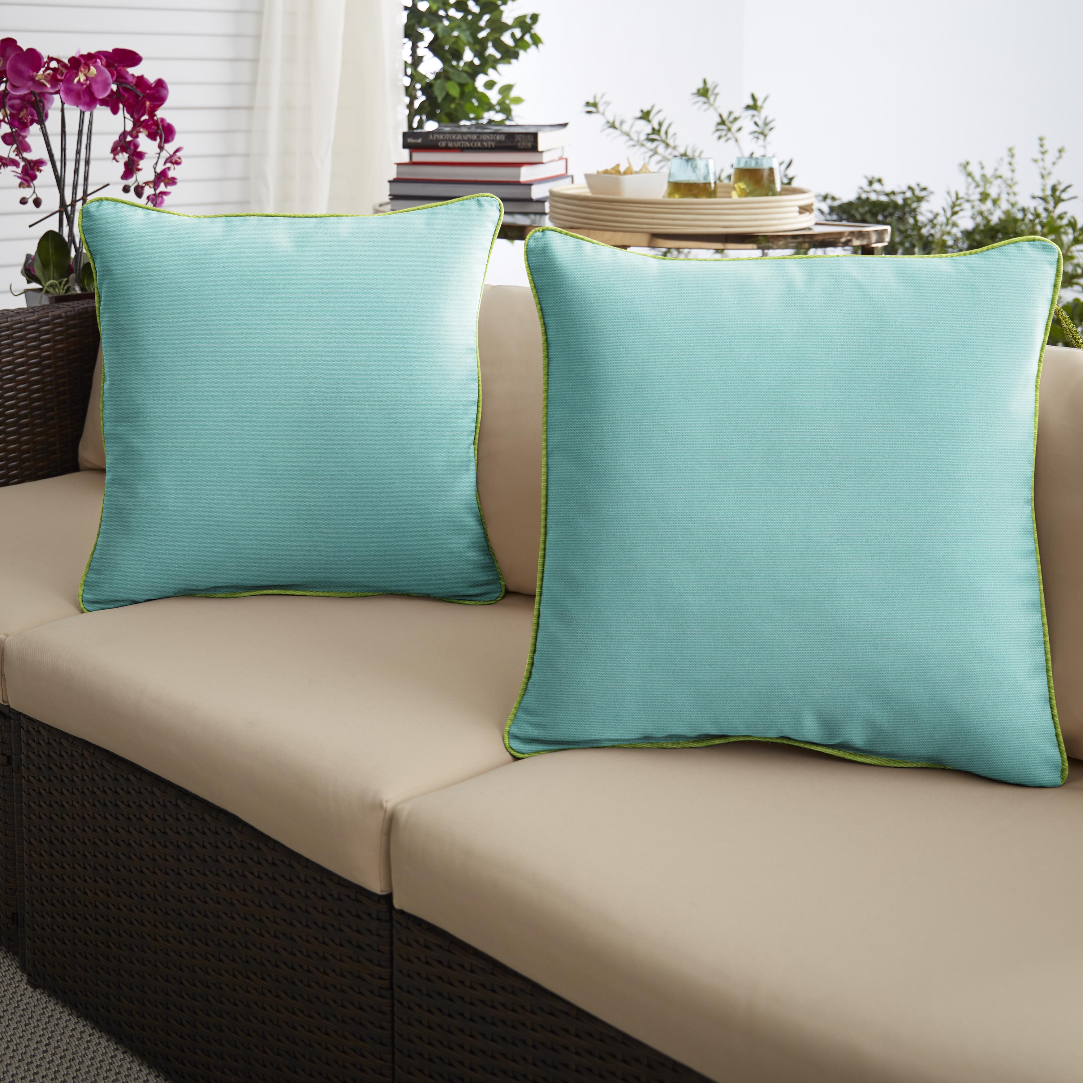 Sunbrella Canvas Aruba/Canvas Macaw Set of 2 Outdoor Pillows