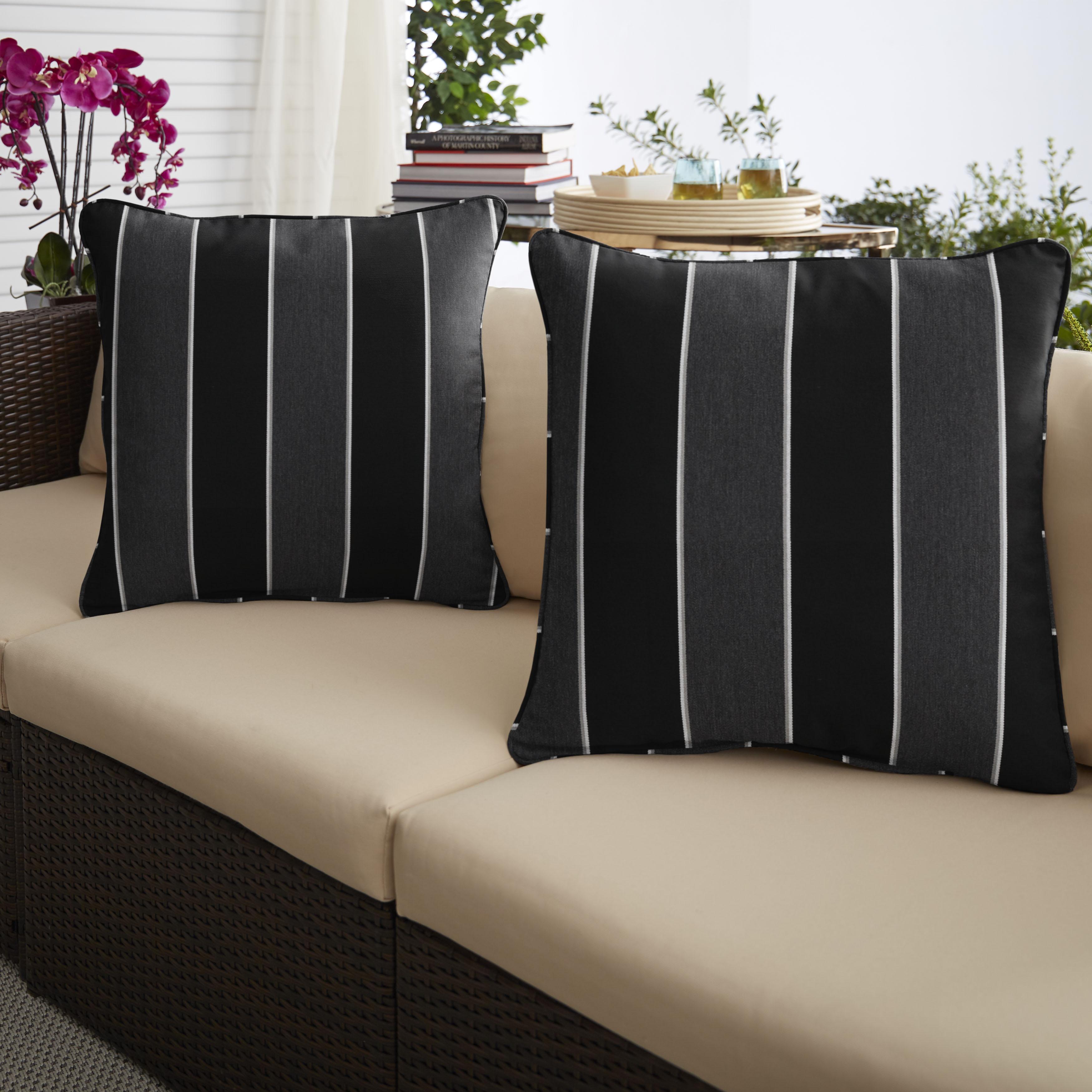 Sunbrella Peyton Granite Set of 2 Outdoor Pillows