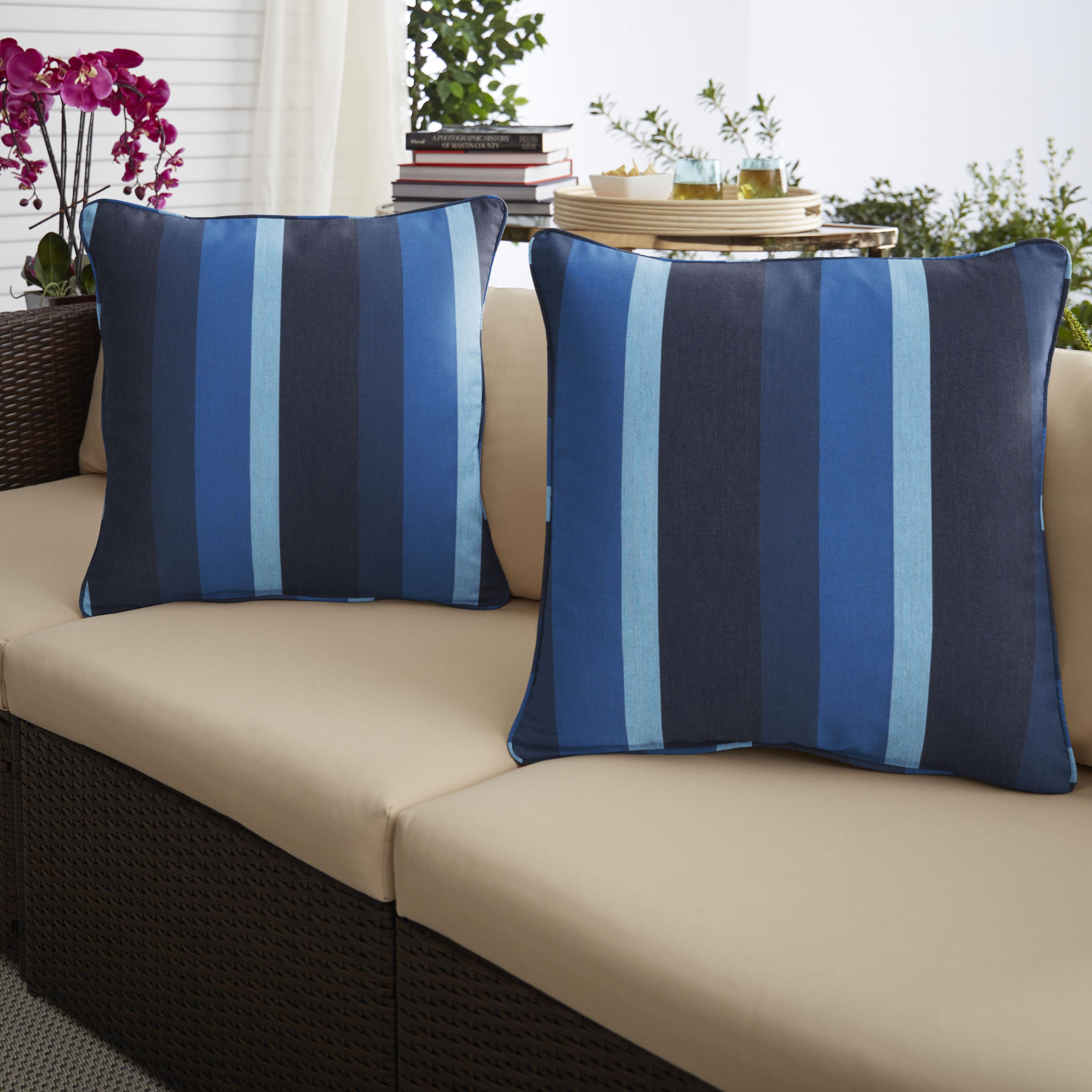 Sunbrella Gateway Indigo Set of 2 Outdoor Pillows