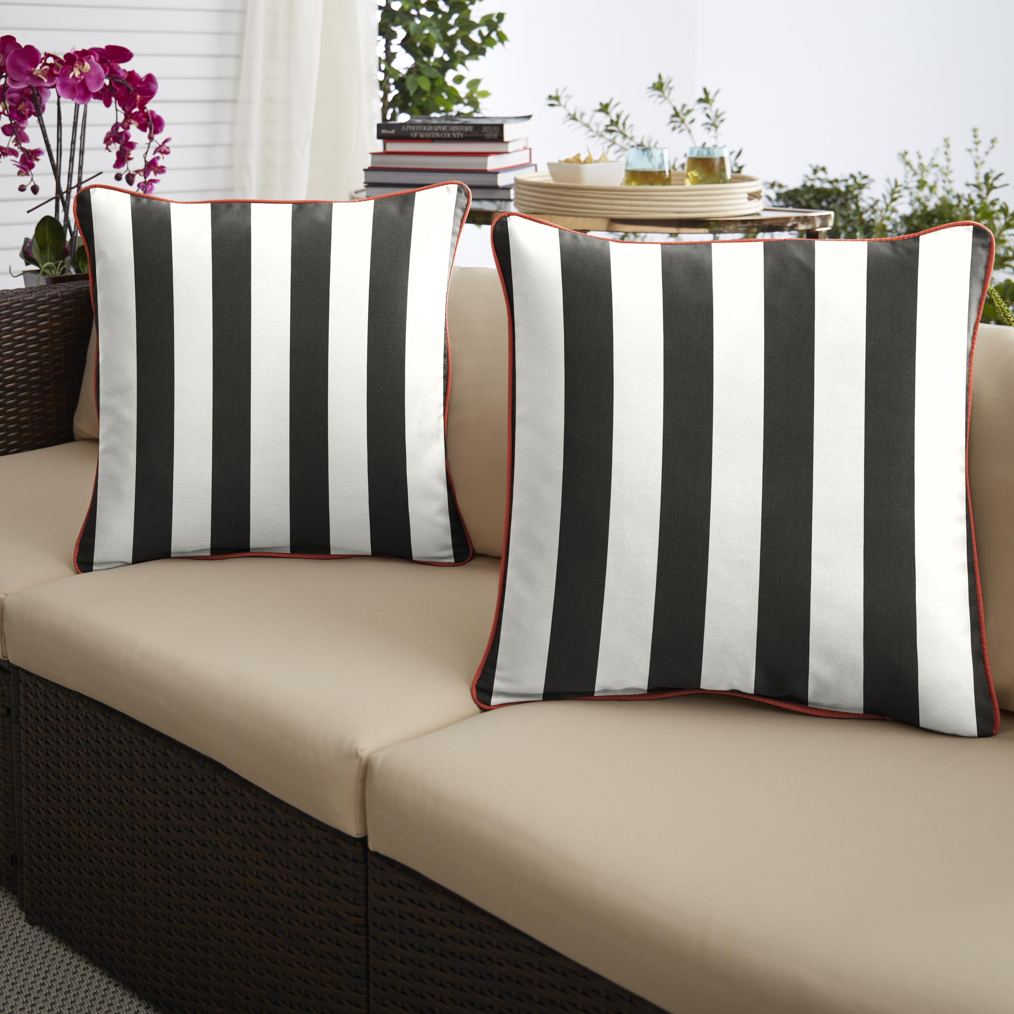 Sunbrella Cabana Classic/Canvas Melon Set of 2 Outdoor Pillows