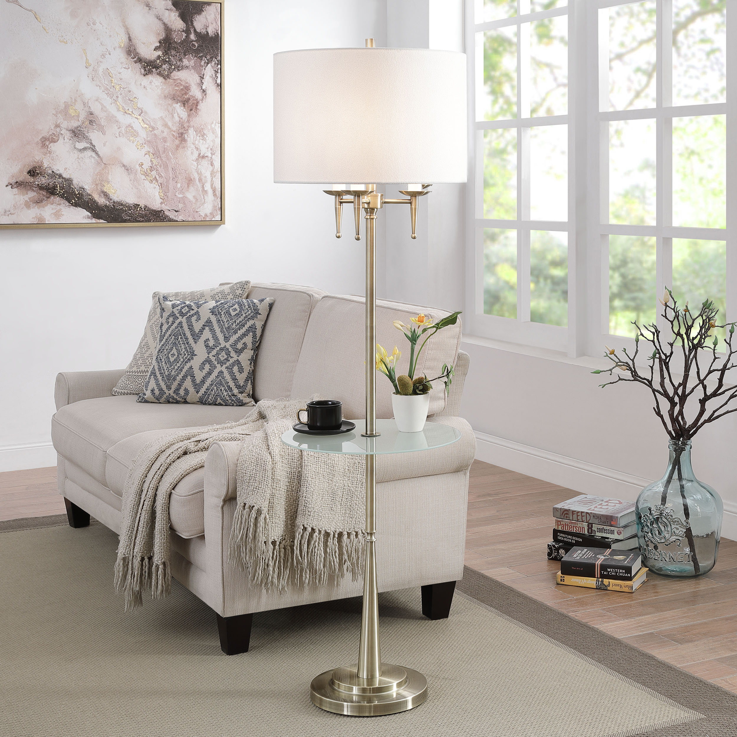 Traditional Brass Candlestick Floor Lamp
