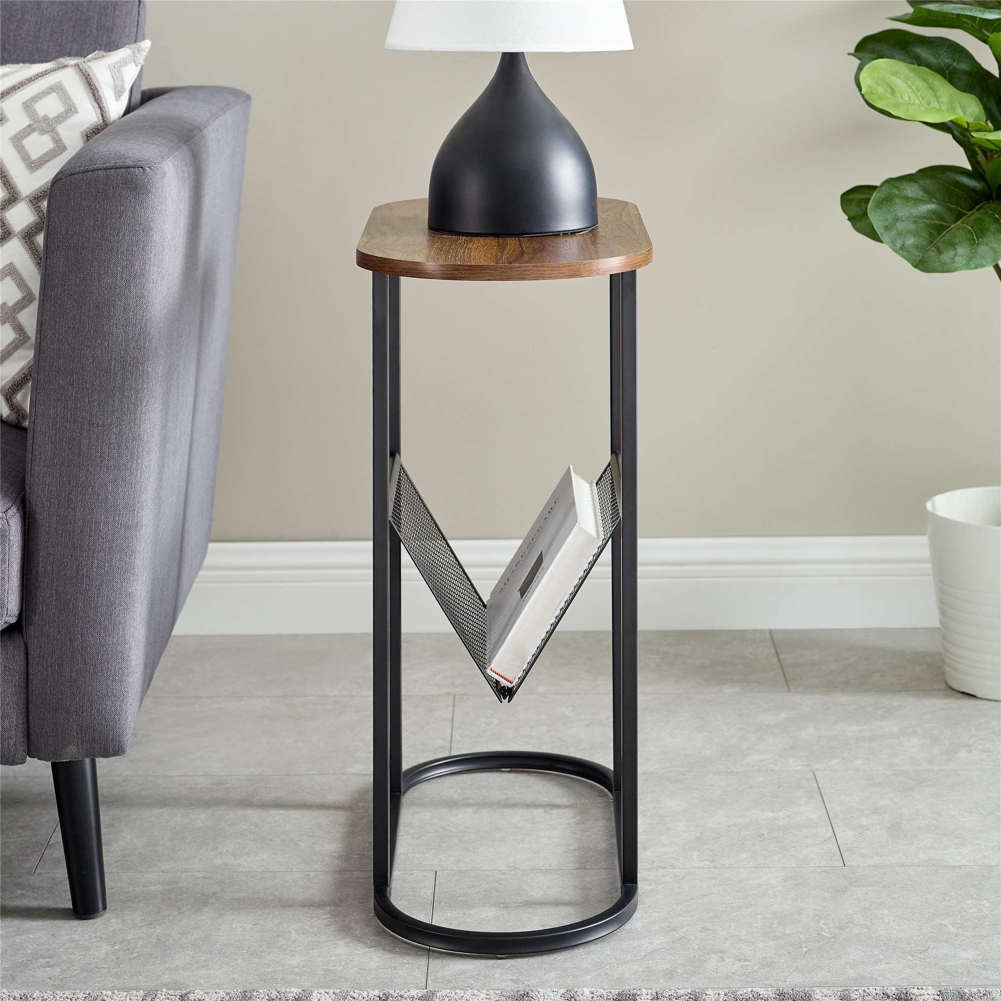 Oblong Side Table with Magazine Rack