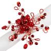 Beaded Spray Napkin Ring - Red