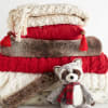 Red Cable-Knit Faux Fur Trim Throw