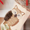 Embroidered Owl Faux Fur Stocking