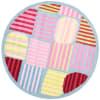Striped Square 6' Kids Round Rug