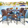 Brown Wicker Bistro Bar Set with Ice Pail