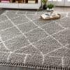 Shag Plush Tassel Moroccan Geometric Trellis Grey/Cream Area Rug