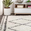 Shag Plush Tassel Moroccan Tribal Geometric Trellis Cream/Grey Area Rug