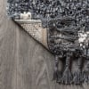 Mercer Shag Plush Tassel Moroccan Tribal Geometric Trellis Denim Blue/Cream 8 ft. x 10 ft. Area Rug