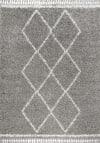 Mercer Shag Plush Tassel Moroccan Tribal Geometric Trellis Grey/Cream 4 ft. x 6 ft. Area Rug