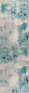 Contemporary POP Modern Abstract Vintage Cream/Blue Runner Rug