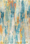 Contemporary POP Modern Abstract Vintage Waterfall Blue/Cream/Yellow Area Rug