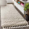 Shag Plush Tassel Cream Runner Rug