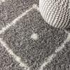 Mercer Shag Plush Tassel Moroccan Diamond Grey/Cream 3 ft. x 5 ft. Area Rug