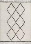 Mercer Shag Plush Tassel Moroccan Tribal Geometric Trellis Cream/Grey 3 ft. x 5 ft. Area Rug
