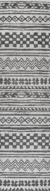 Imlil Tribal Geometric Stripe Light Gray/Cream 2 ft. x 8 ft. Runner Rug