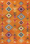 Tribal Love Geometric Orange/Multi Area Rug