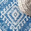Moroccan HYPE Boho Vintage Tribal Blue/White 2 ft. x 8 ft. Runner Rug