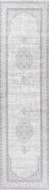 Ornate Medallion Traditional Gray Runner Rug