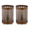 Quatrefoil Pierced Metal Table Lamps Set of 2