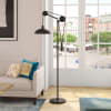 Floor Lamp in Black with Solid Wheel