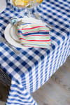 Navy/White Checkers Tablecloth 52x52