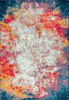 Contemporary Modern Abstract Cream/Blue 5' x 8' Area Rug
